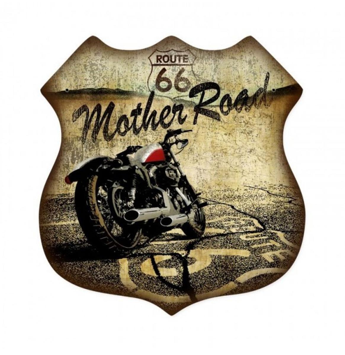 Route 66 Mother Road Zwaar Metalen Bord 38 x 38 cm