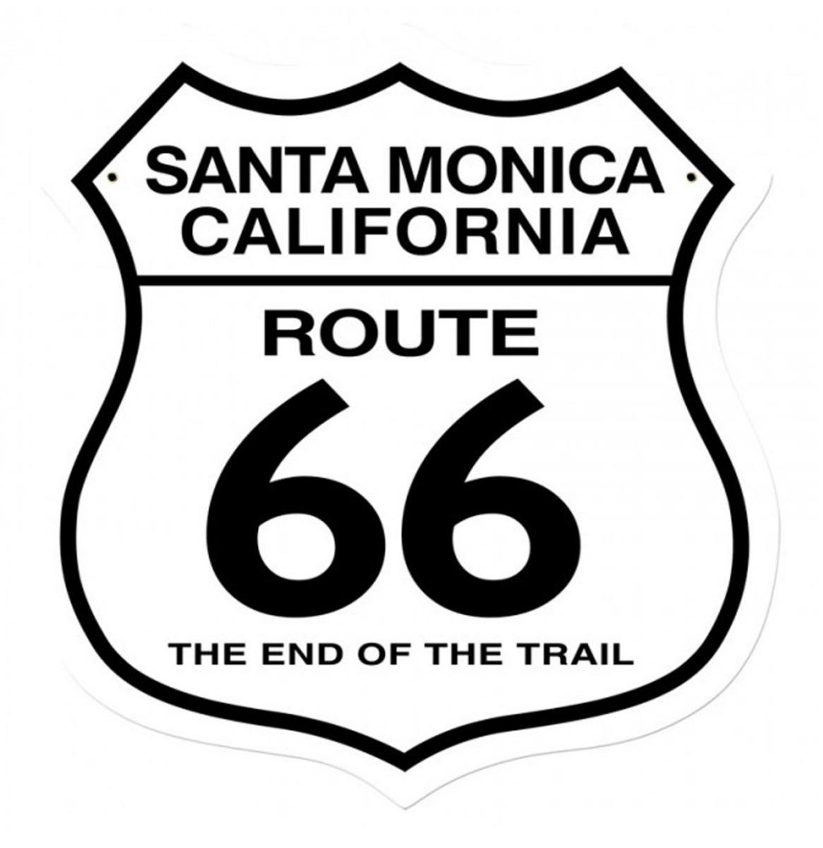 Santa Monica Route 66 The End Of The Trail Zwaar Metalen Bord 41 x 38 cm