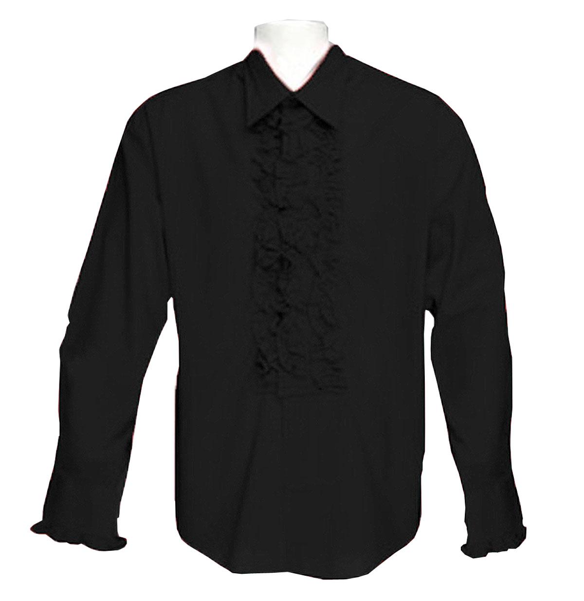 Retro Ruffled Shirt Zwart