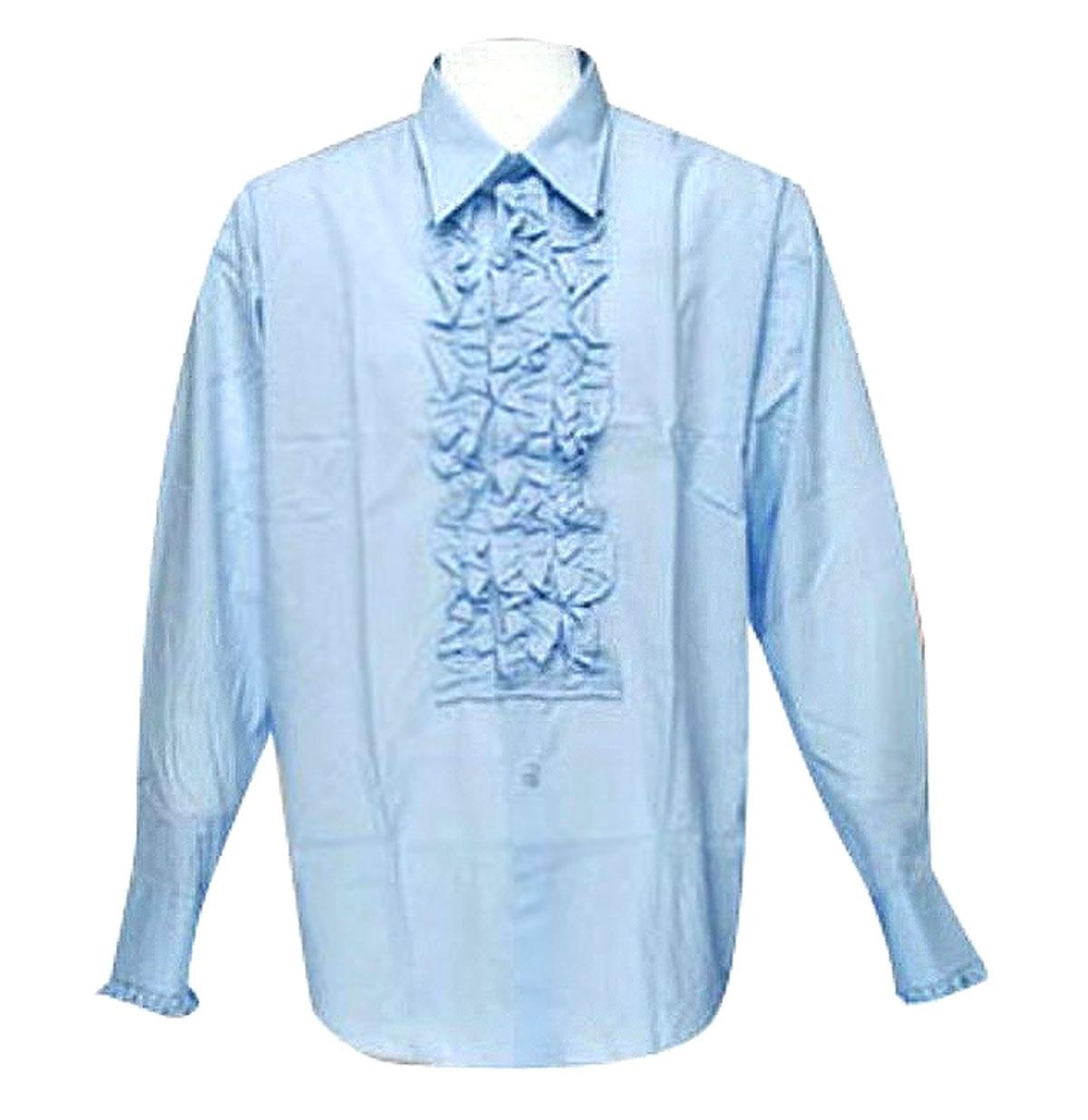 Retro Ruffled Shirt Licht Blauw