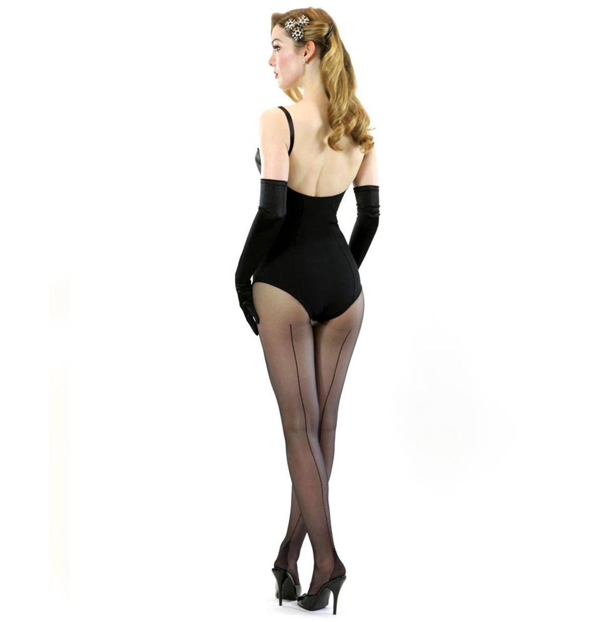 Panty Retro Zwart, zwarte naad