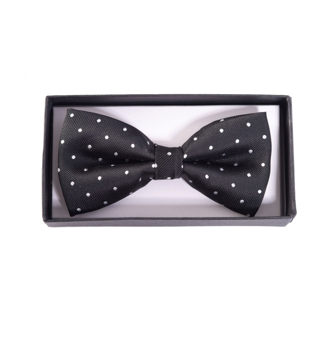 Ribbon Dance Bow Tie Black White Polka Dots