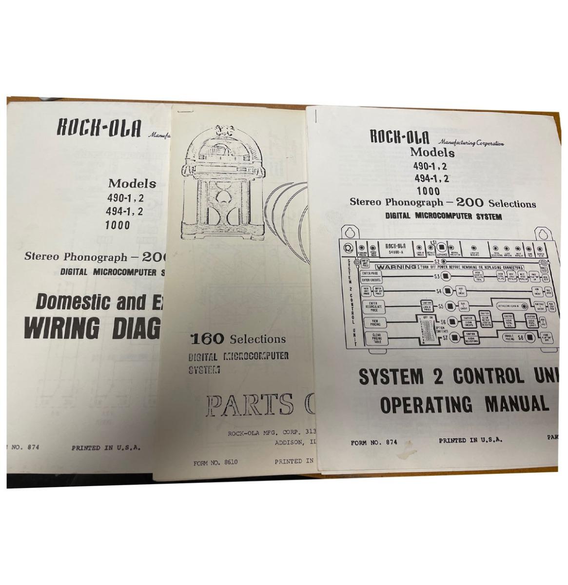 Rock-Ola 490, 491 And 1000 Operating Manual