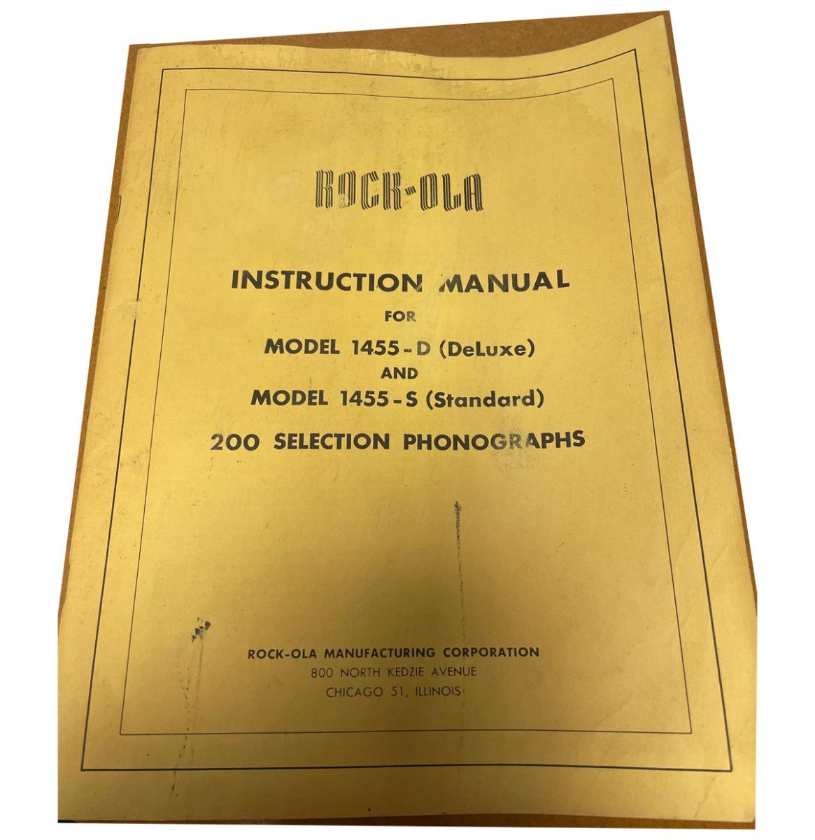 Rock-Ola Instructies Manual 1455-D And 1455-S Origineel