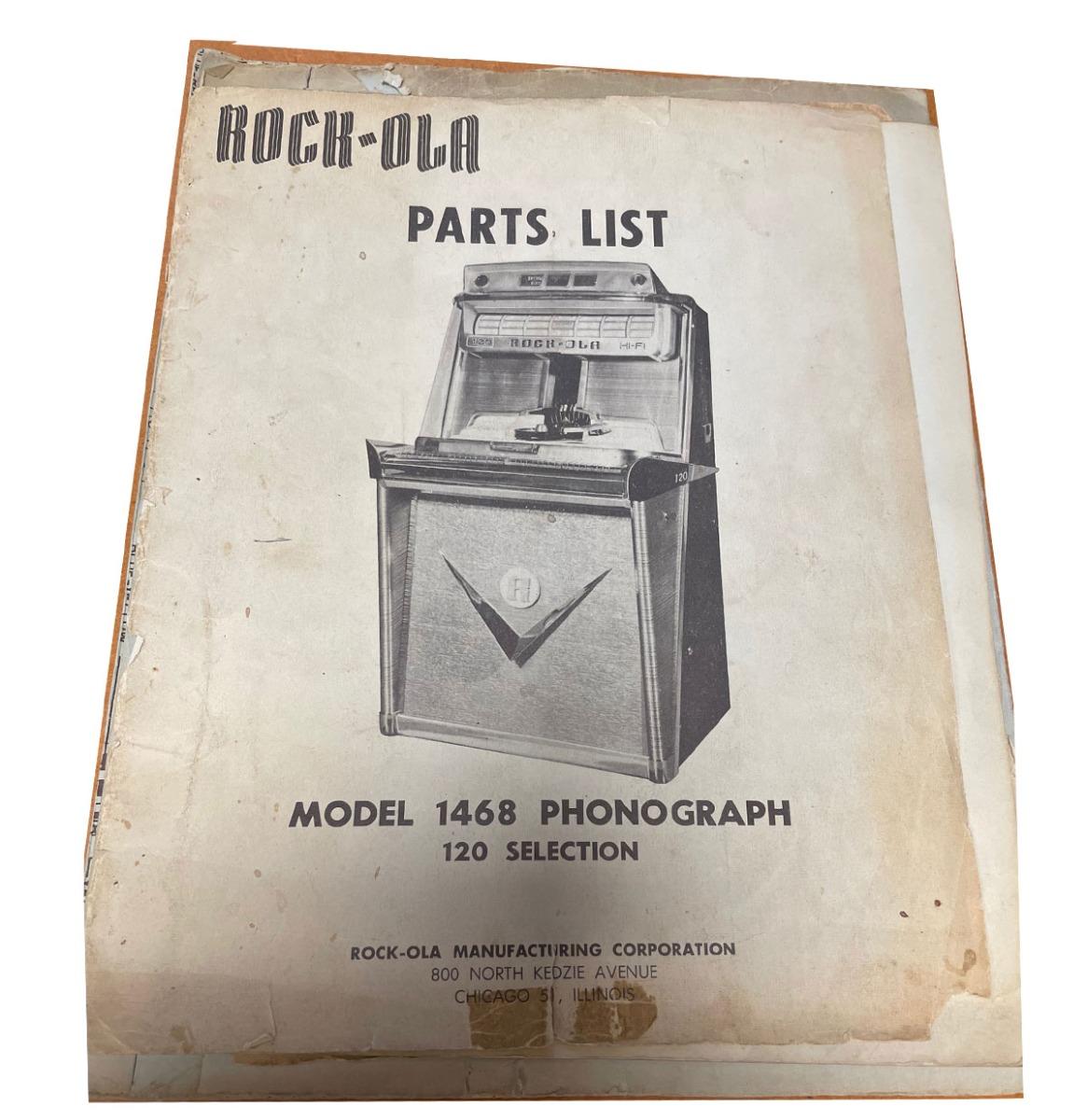 Rock-Ola 1468 Onderdelen Lijst Origineel