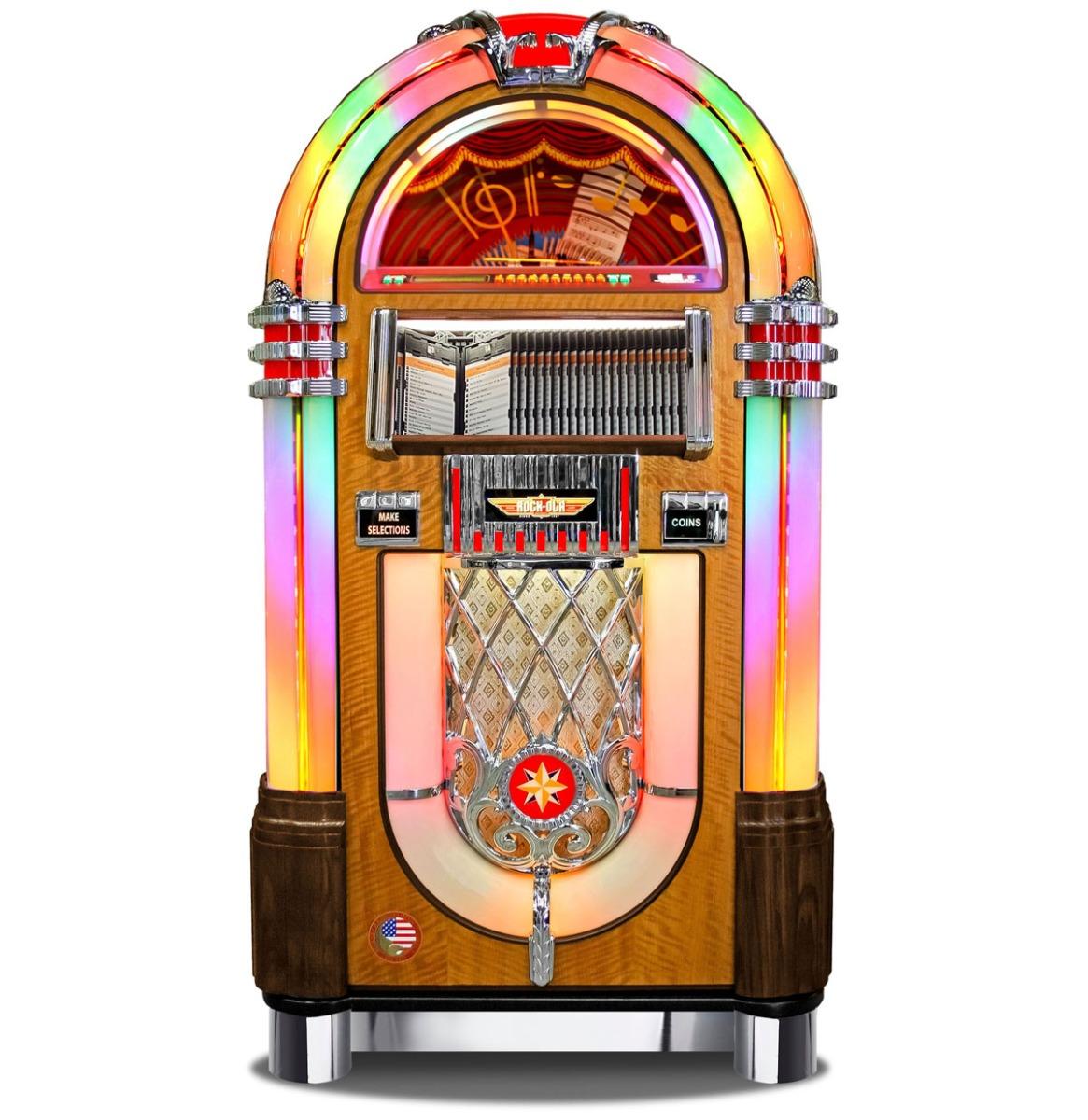 Rock-Ola 1015 CD Bubbler Jukebox - Klassiek Walnoot