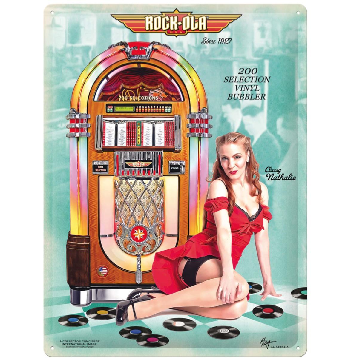 Rock-Ola Vinyl Bubbler Jukebox Pin-Up Classy Nathalie Metalen Bord 30 x 40 cm