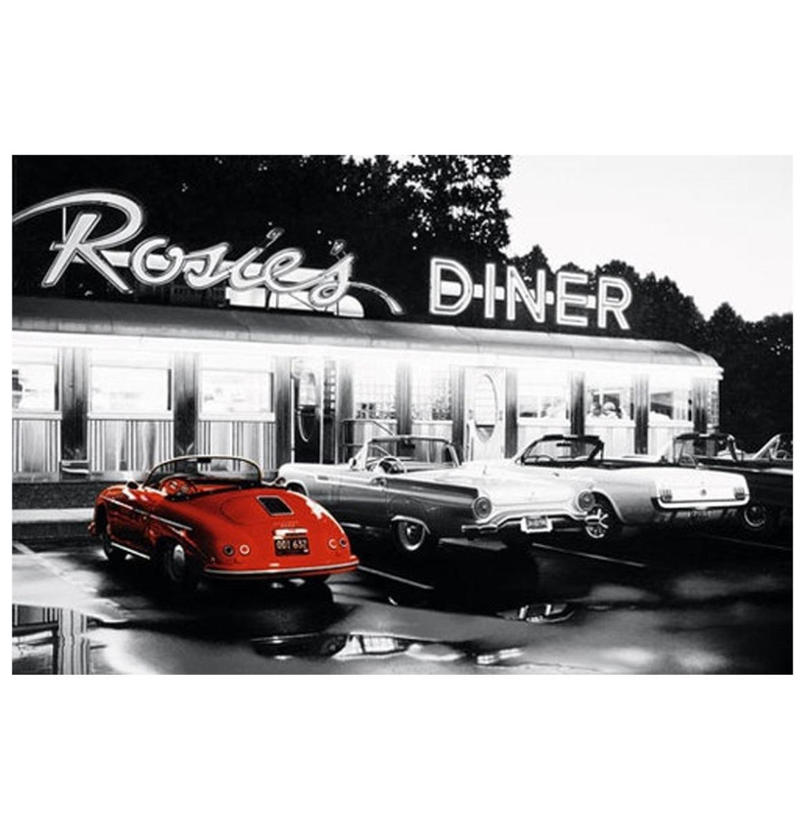 Rosie's Diner Black & White Metalen Bord - 8 x 11 cm