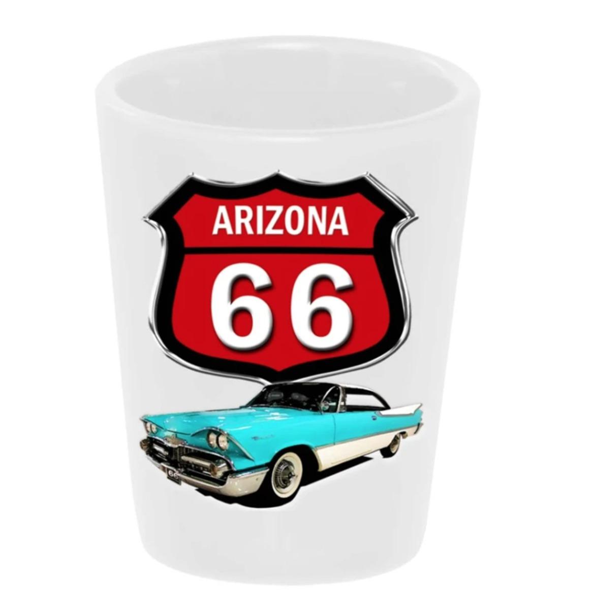 Shot Glass Keramiek Route 66 59 Dodge Blauw