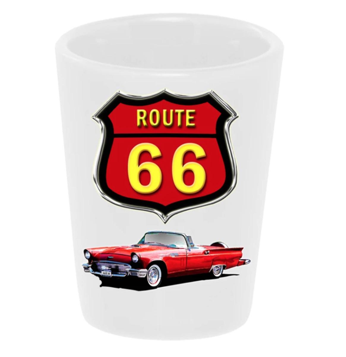 Shot Glas Keramiek Route 66 57 Ford T'Bird Rood