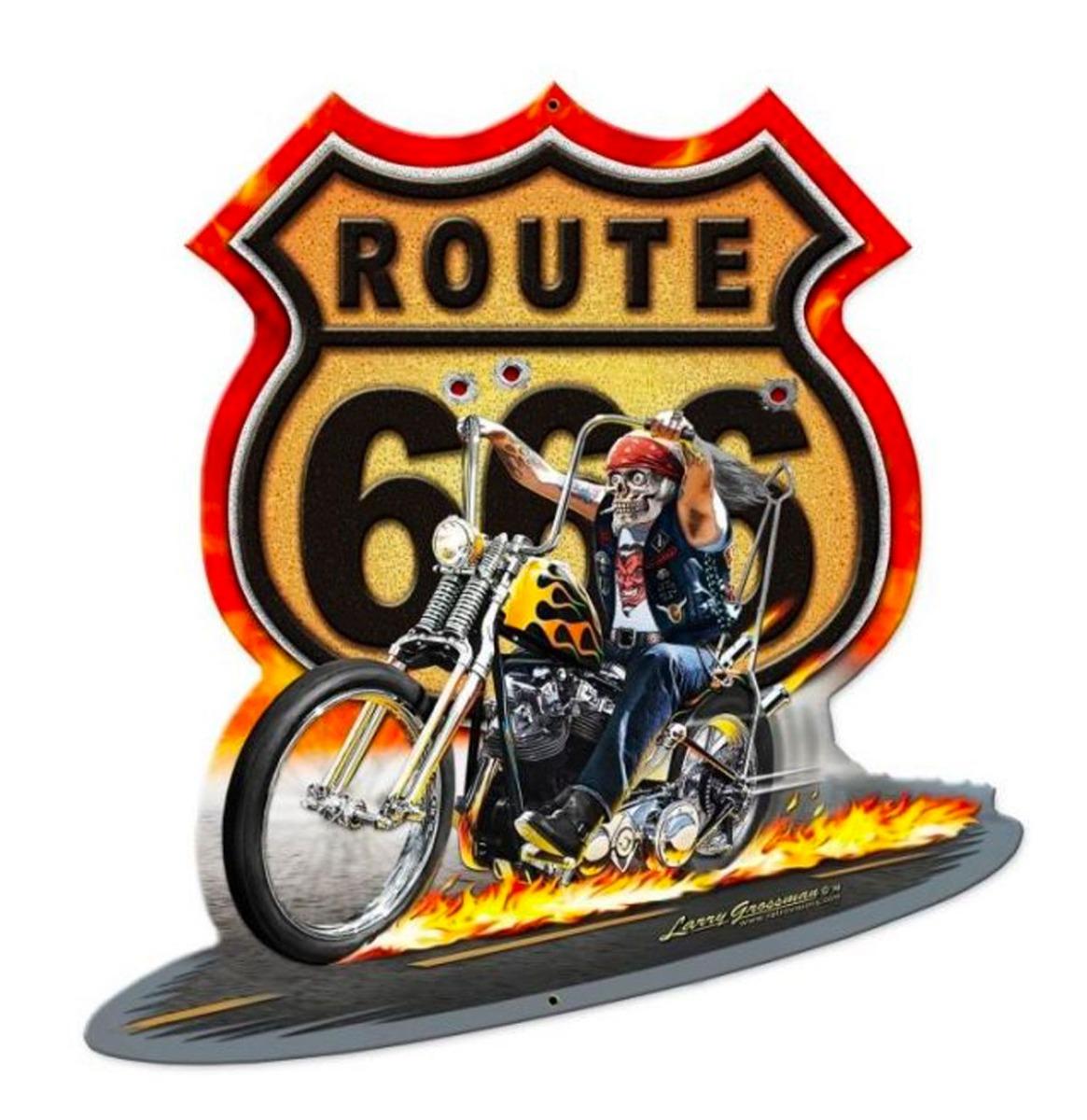 Route 666 Motorbike Zwaar Metalen Bord 45x43 cm