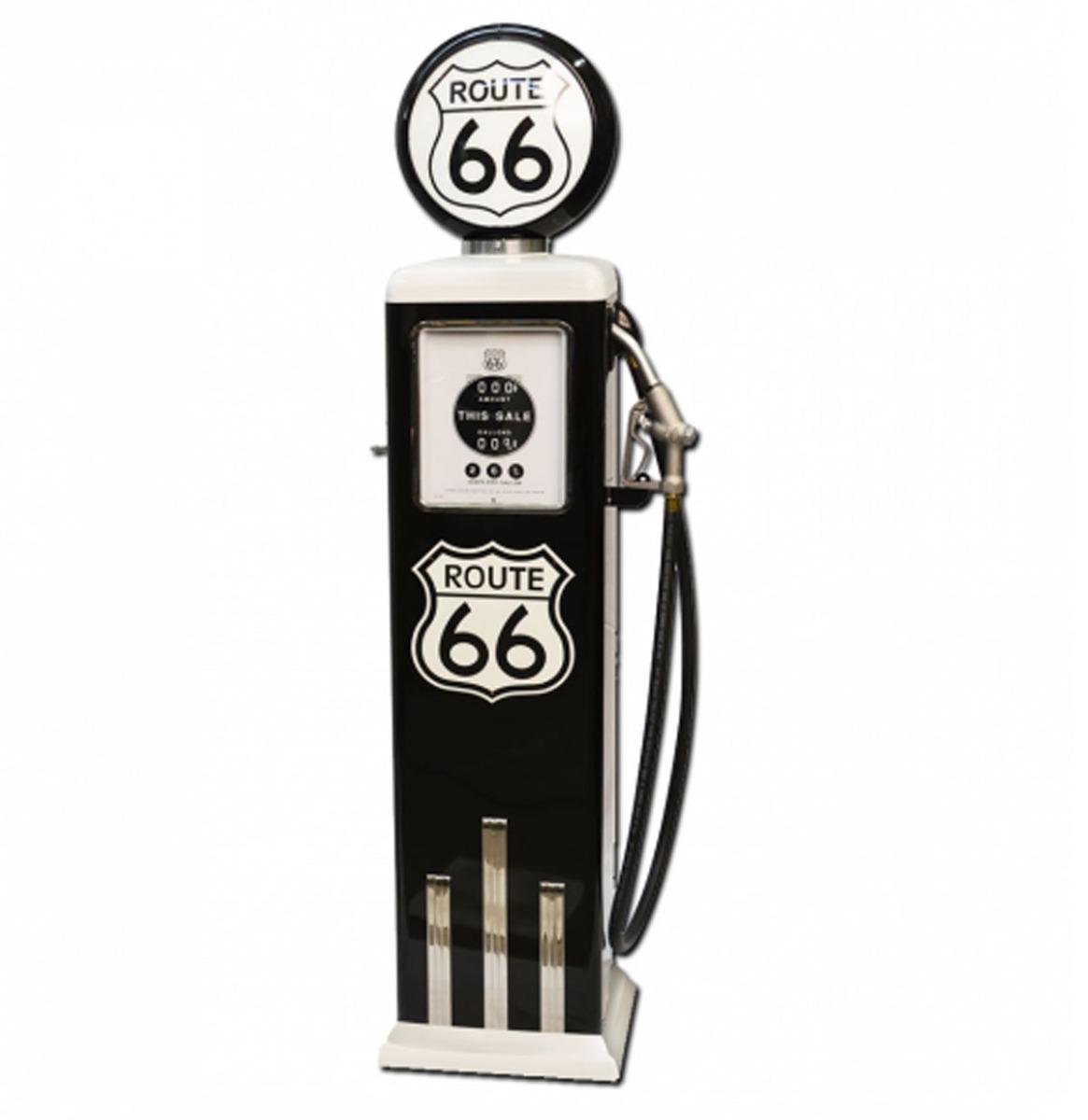 Route 66 8 Ball Elektrische Benzinepomp Met Voet - Zwart & Wit - Reproductie