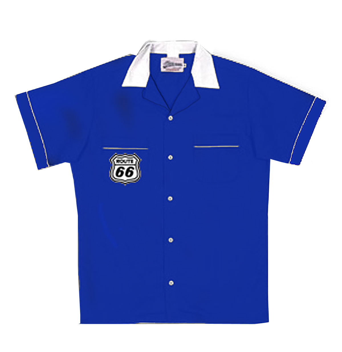 Bowling Shirt Route 66 Blauw / Wit