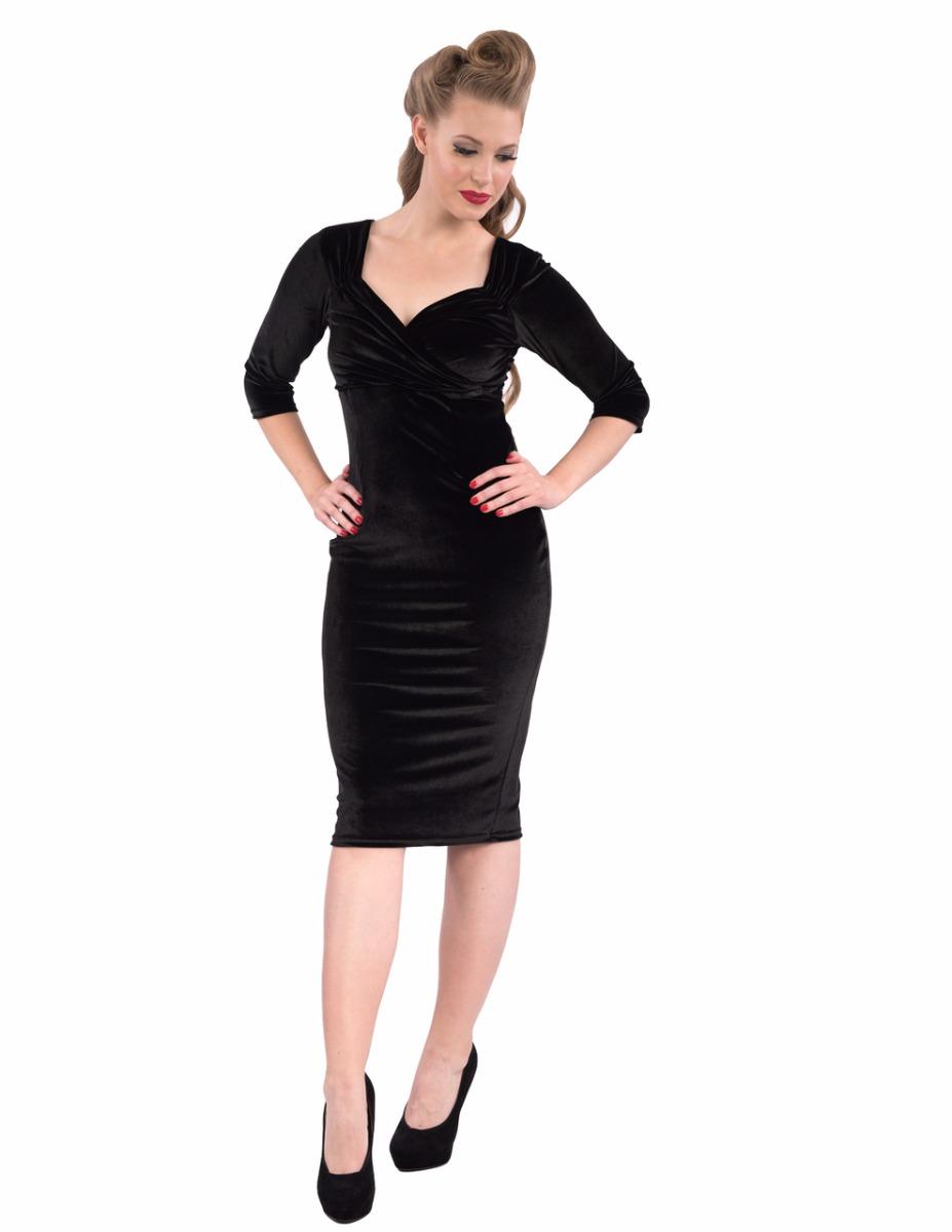 Diva Dress Velvet Black 3/4 sleeve