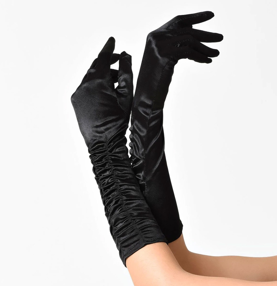 Unique Vintage Gerimpelde Satijnen Handschoenen Zwart