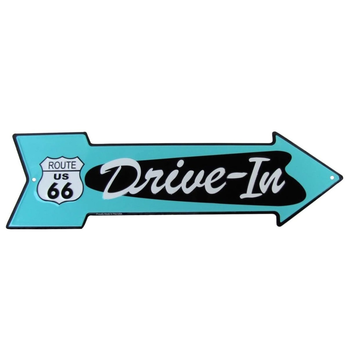 Drive-In Pijl Bord Turquoise - Route 66 50 x 14,5 cm