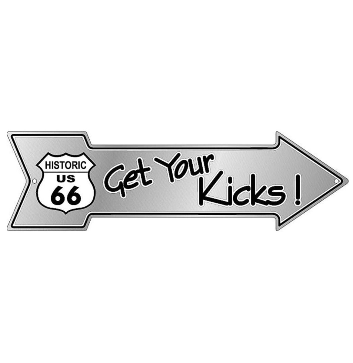 Get Your Kicks! Pijl Bord Aluminium - Historic Route 66 50 x 14,5 cm