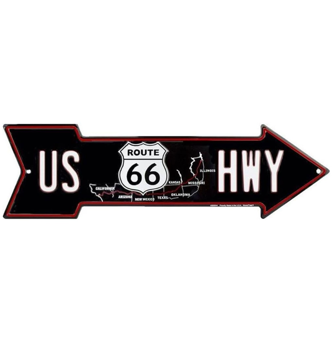 US HWY Map Pijl Bord Zwart - Route 66 50 x 14,5 cm