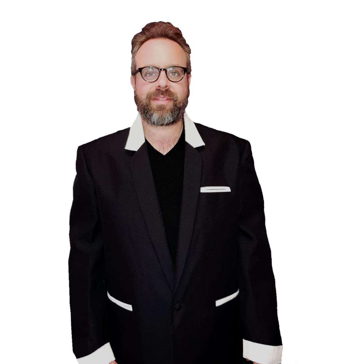 Box Jacket Black / White Velvet size 54