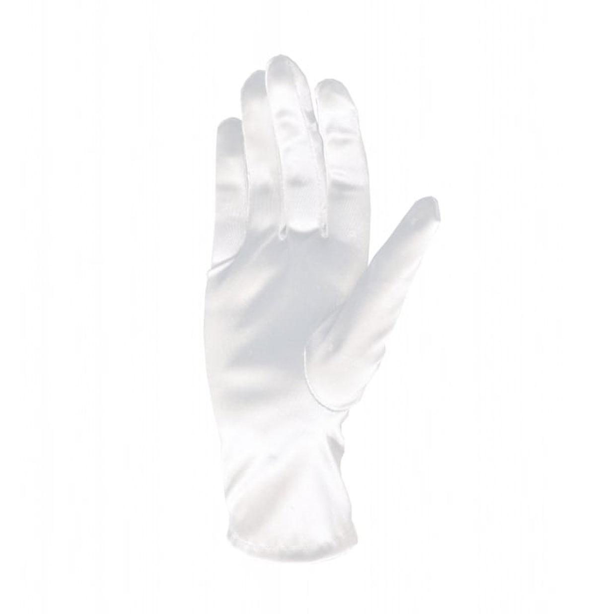 Satin Bracelet Length Gloves White