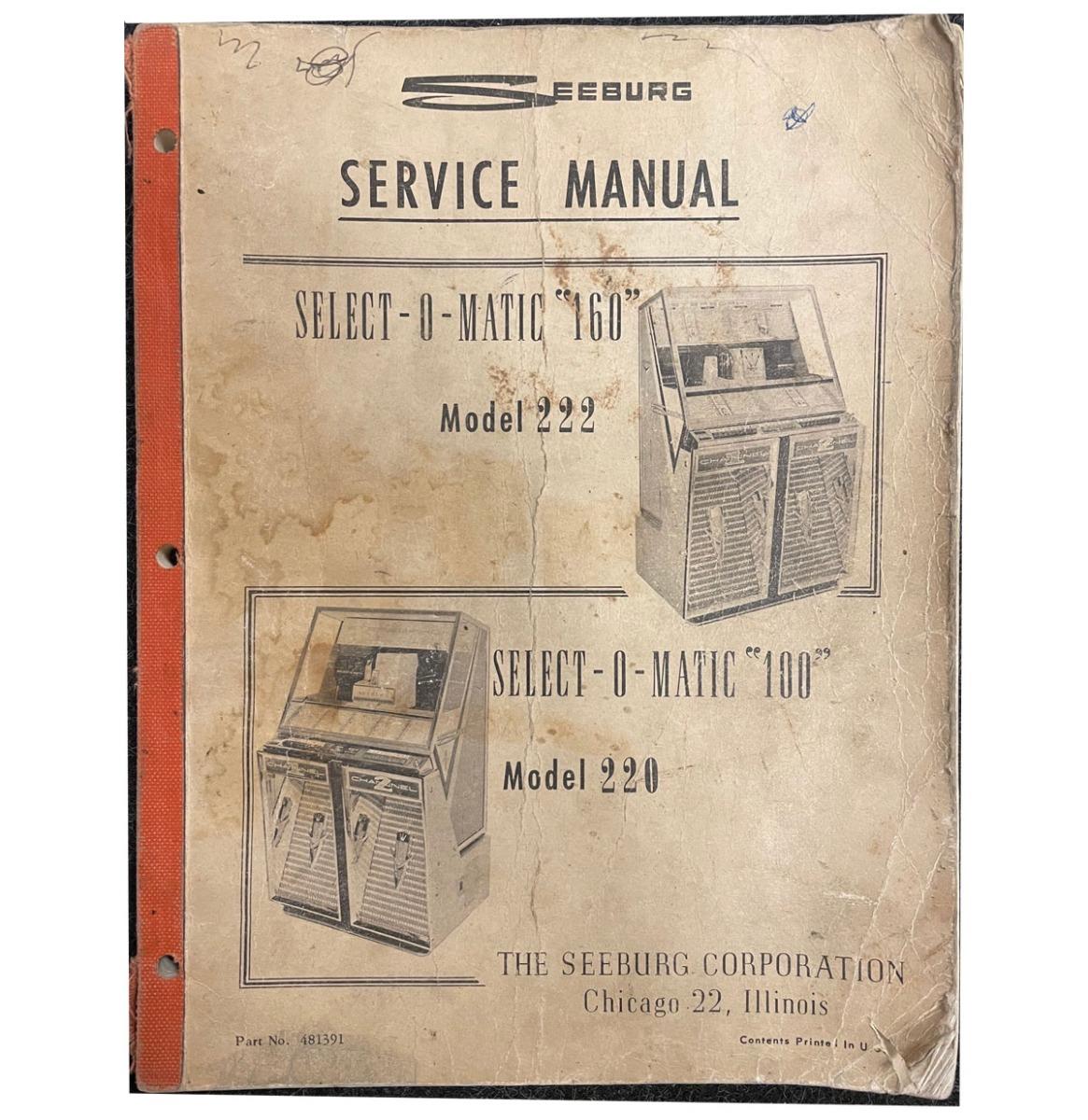 Seeburg 220 222 Jukebox Manual Origineel