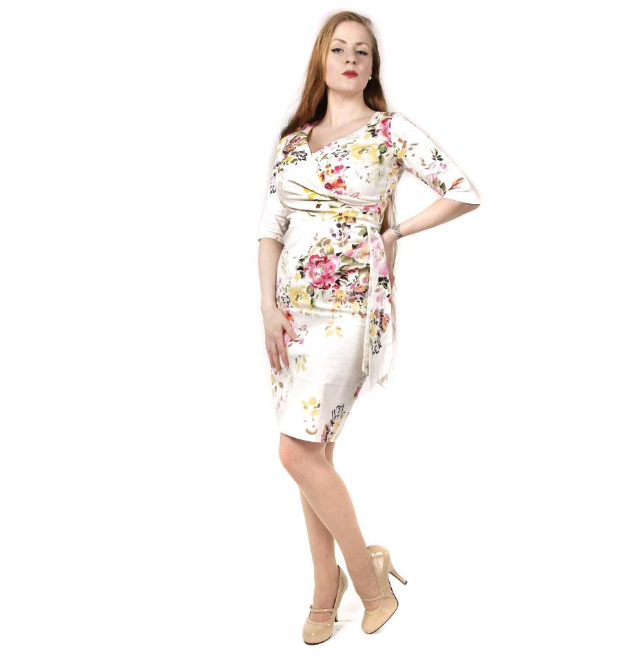 Hourglass 3/4 Sleeve Seville Dress Creme