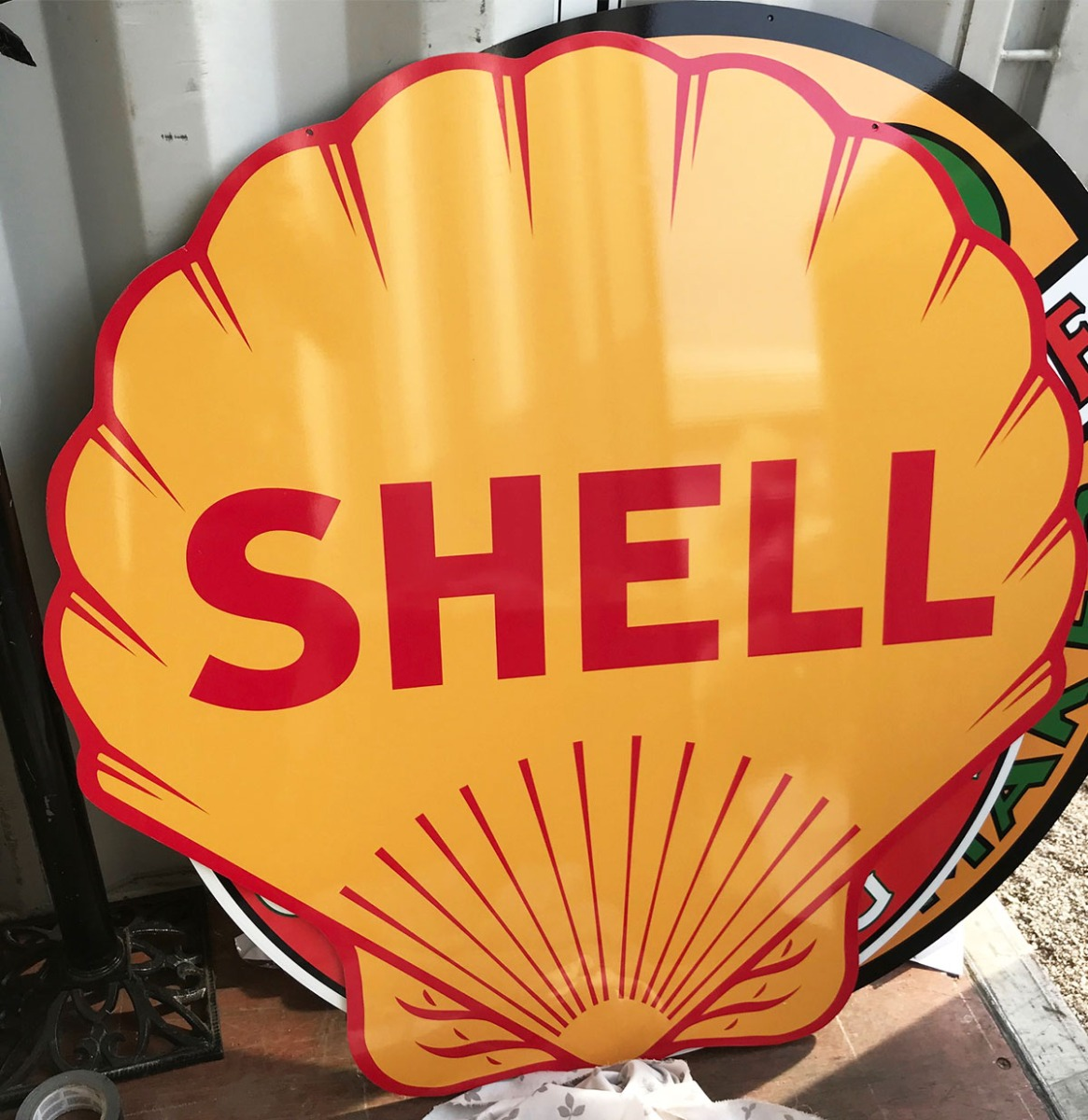 Shell Groot Metalen Bord - Reproductie