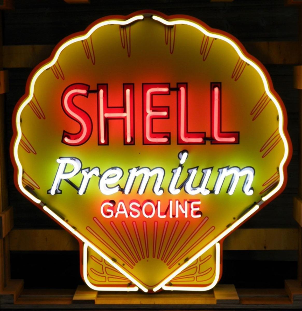 Shell Premium Gasoline Logo Neon Verlichting Met Achterplaat XL 100 x 100 cm