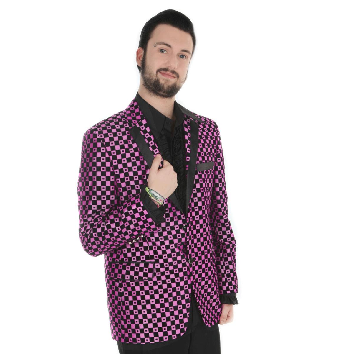 Show Jacket Dark Pink Checker Spots