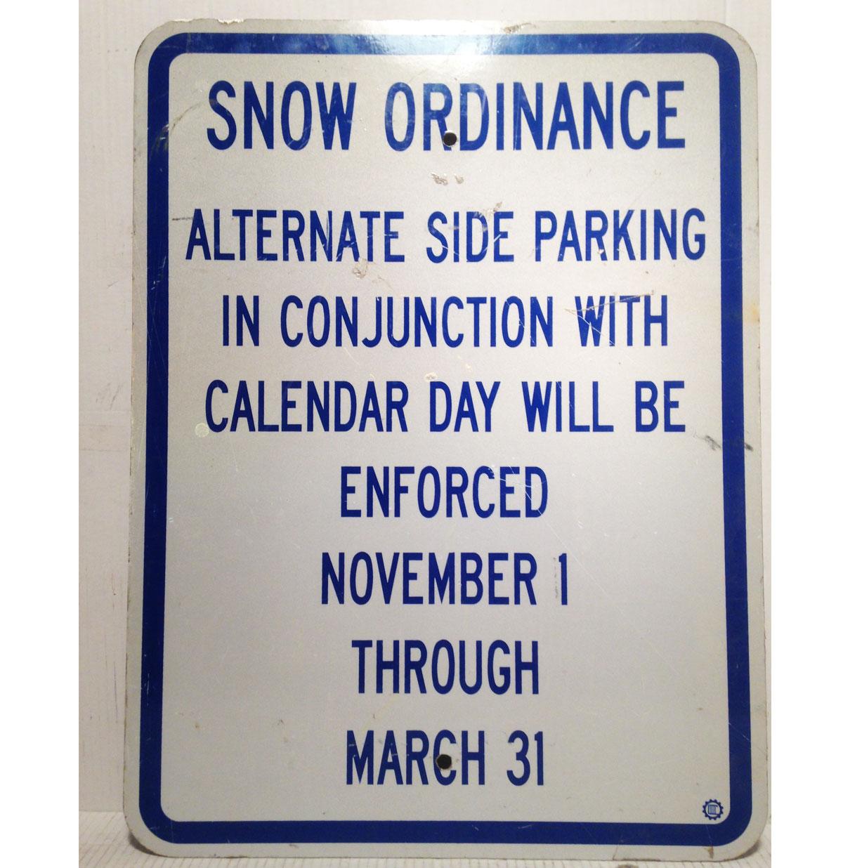 Snow Ordinance Parking Straat Bord - Origineel