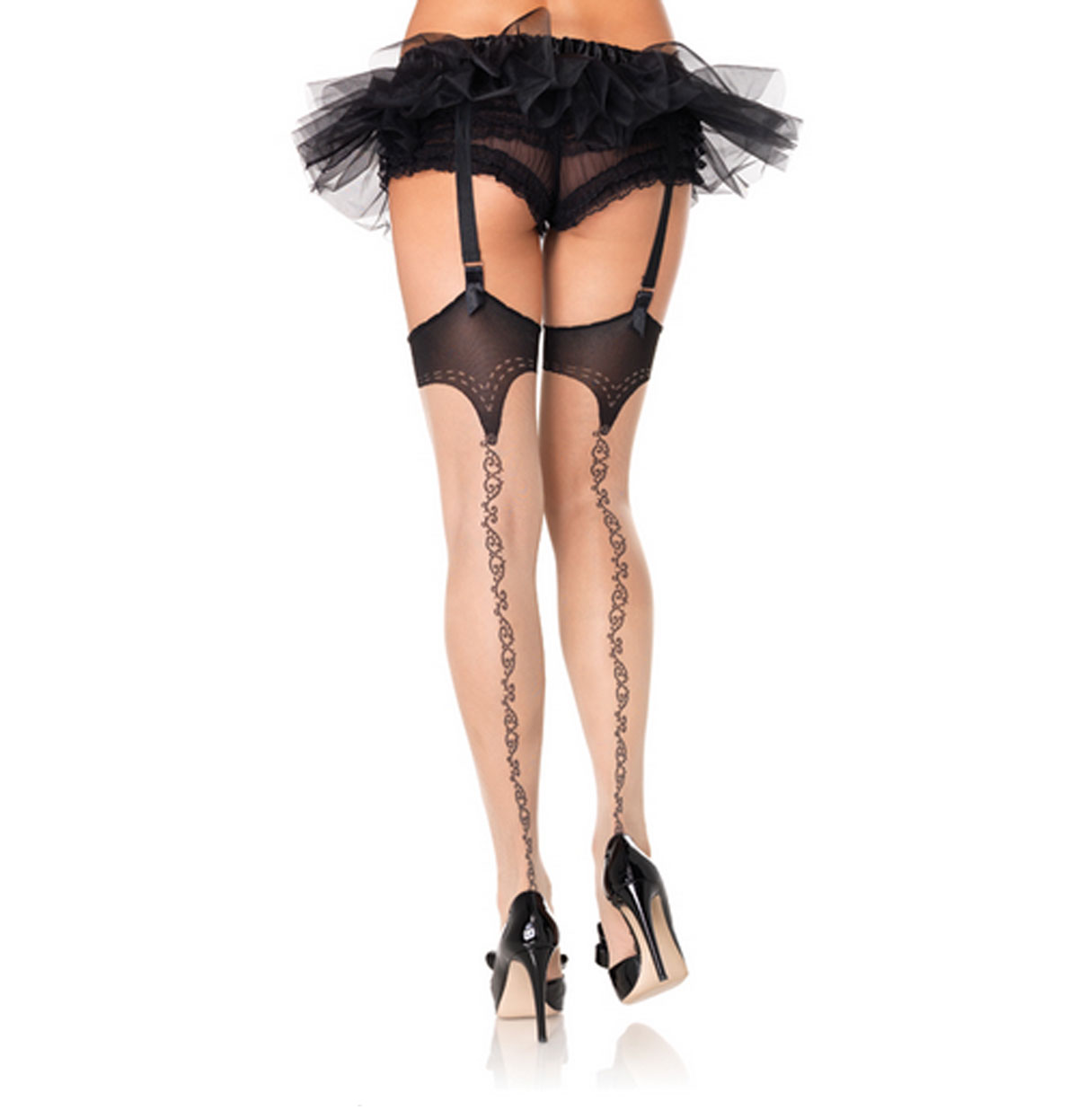 Spandex Sheer Stockings with Stitching Print Detail and Scroll Backseam