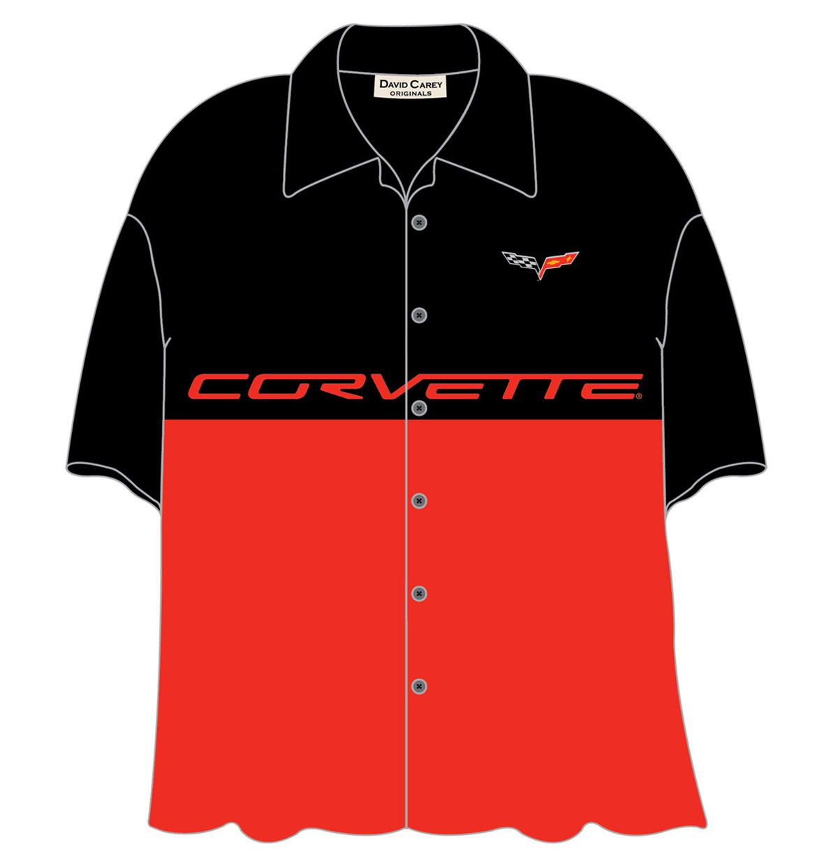 Cars Shirt Split C6 Corvette Zwart/Rood