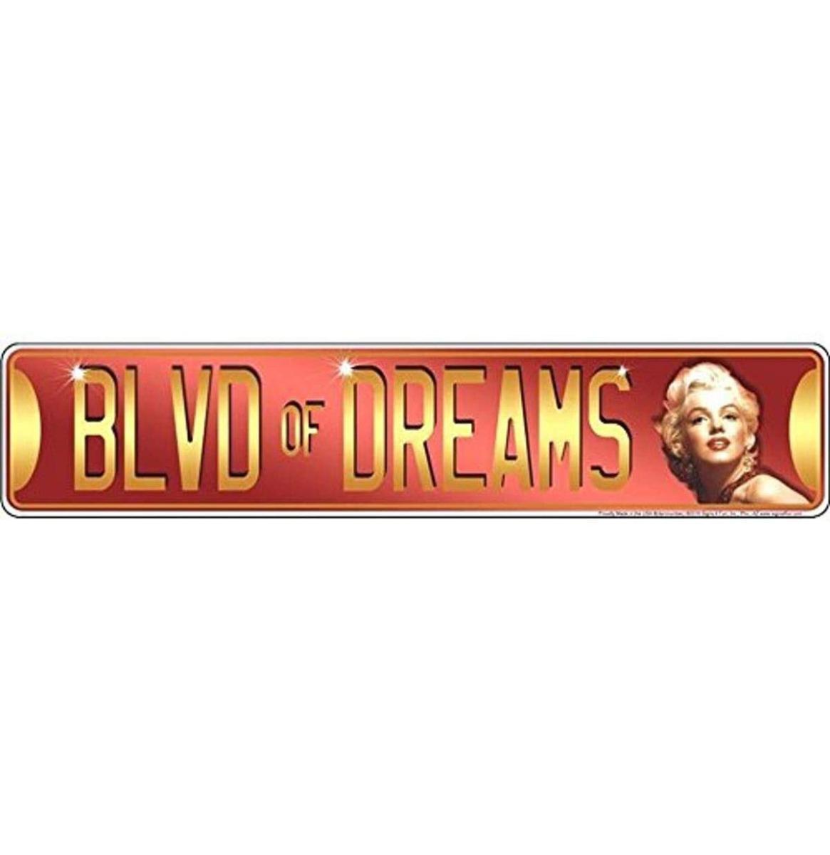 Marilyn Monroe Blvd Of Dreams Aluminium Bord 61 x 12,5 cm