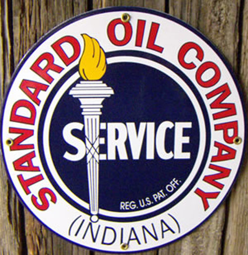 Standard Oil Company Indiana Emaille Logobord