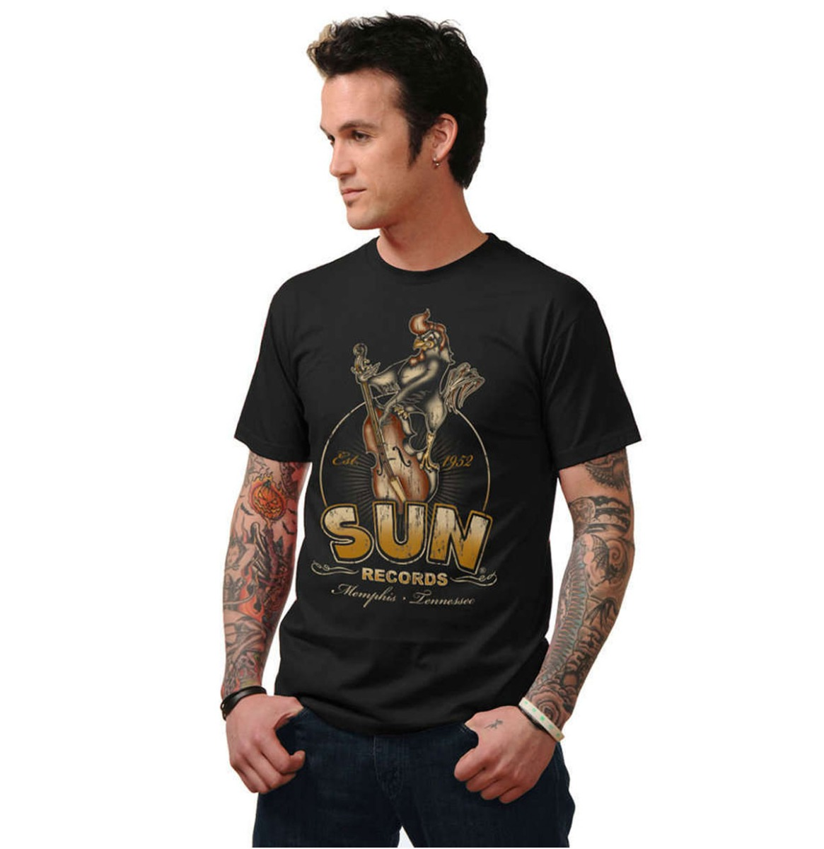Sun Roosterbilly Mens T Shirt Black