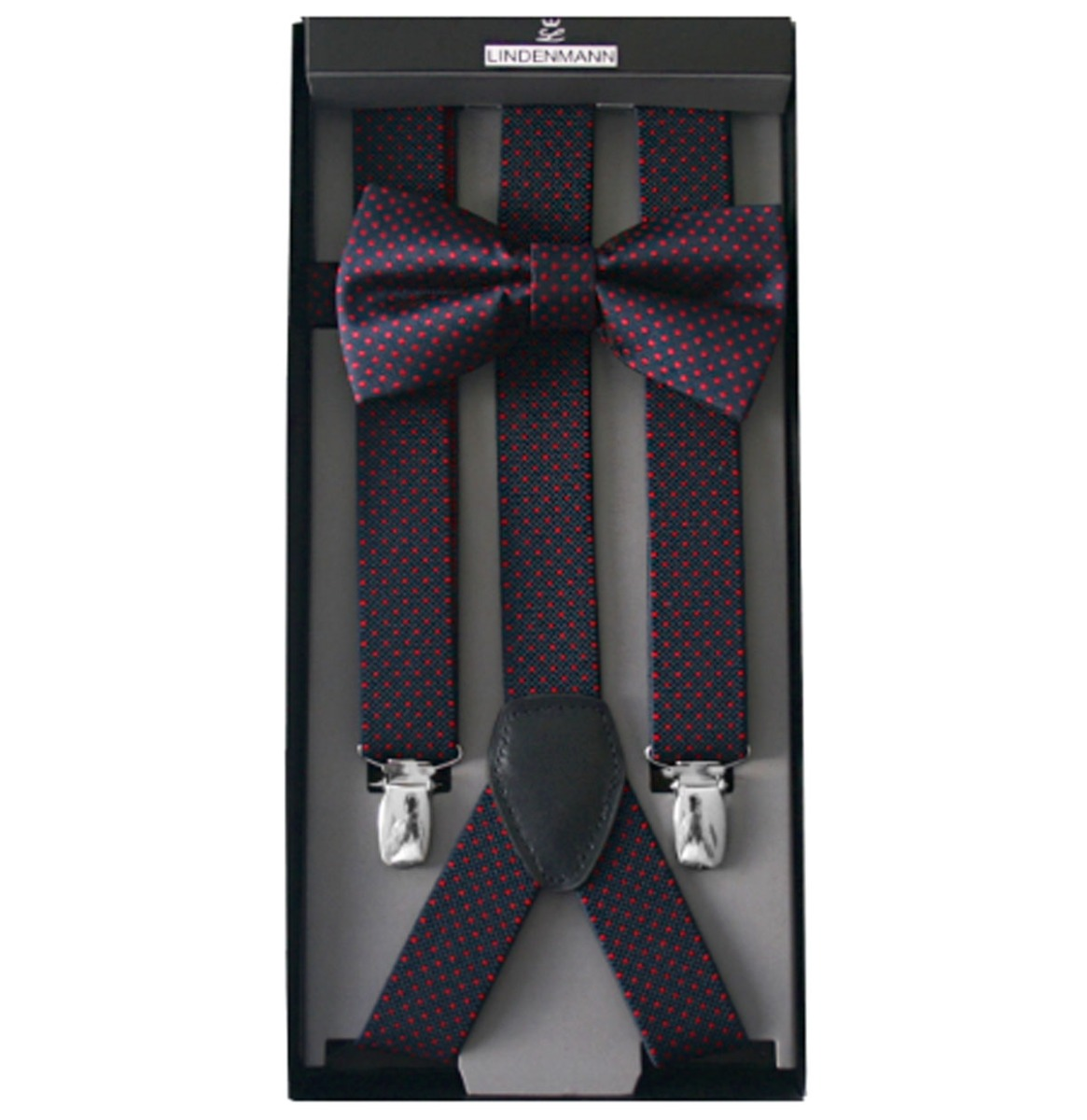 Suspenders & Bow Tie Set Navy / Red