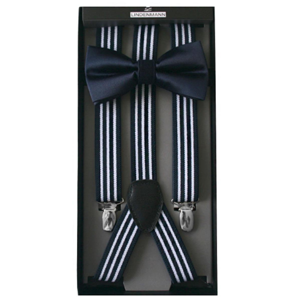 Suspender & Bow Tie Set Navy/ White Stripe