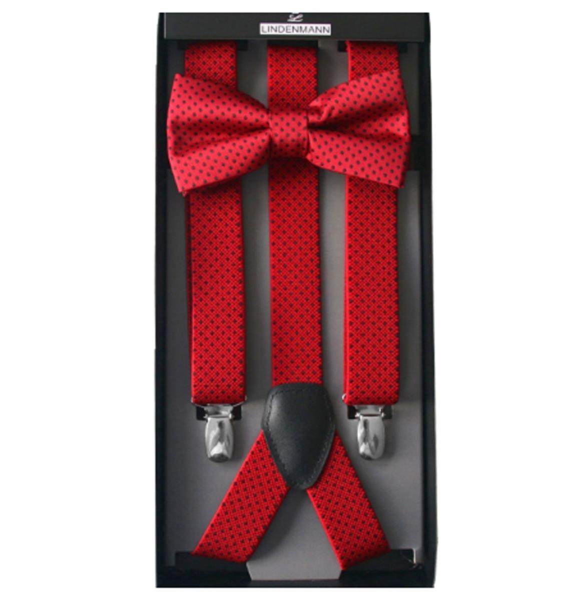 Suspenders & Bow Tie Set Red - Black