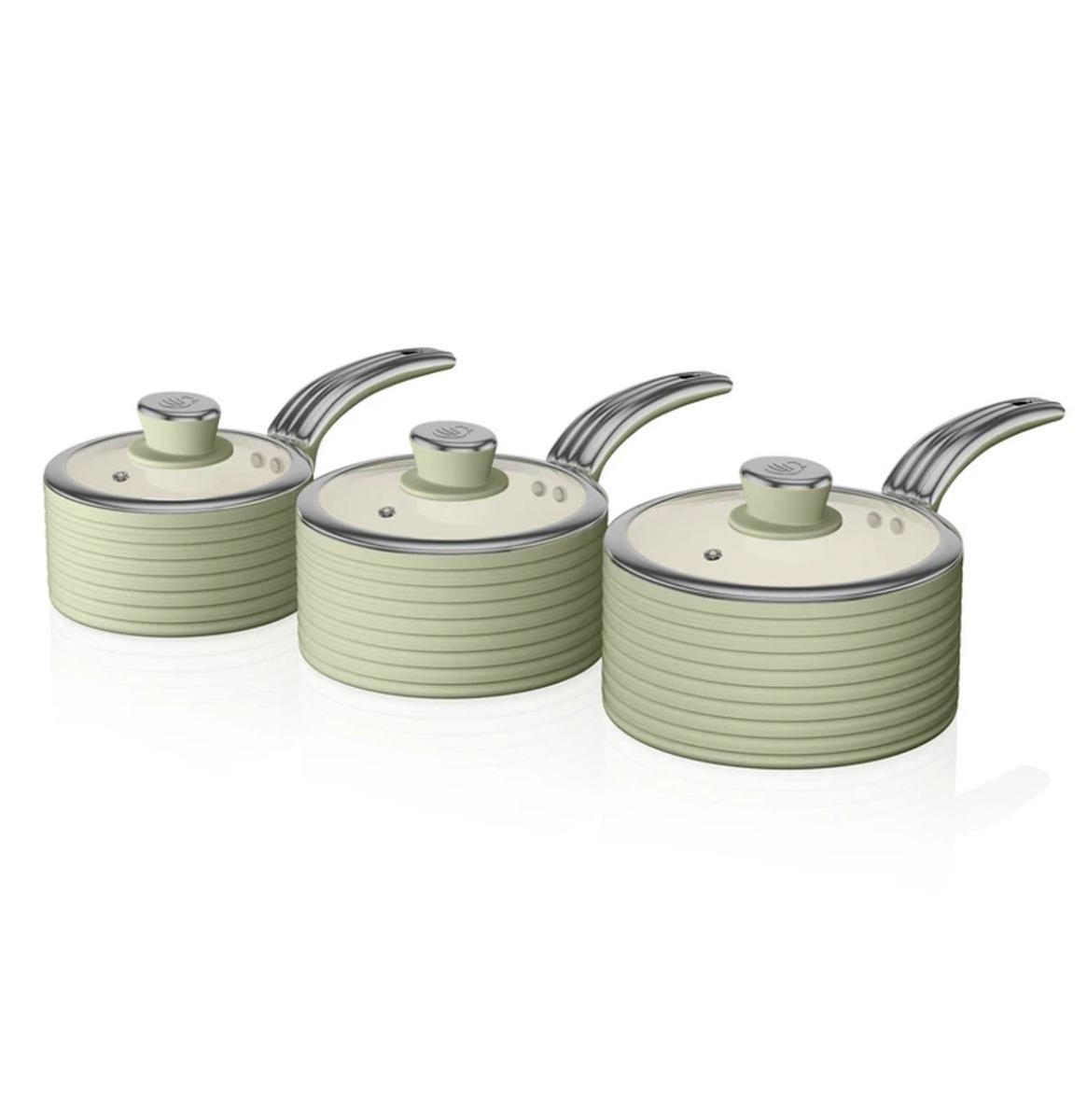 Swan Retro Steelpannen - Set Van 3 - Groen