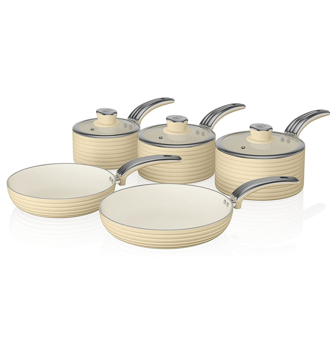 Swan Retro 5-Delige Pannenset Cream