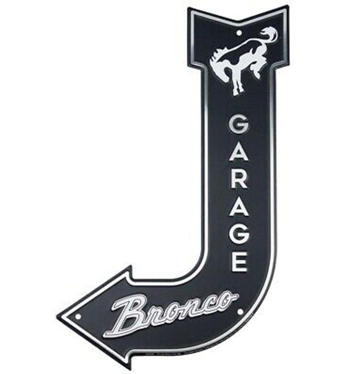 Ford Bronco Garage Gebogen Pijl Aluminium Bord 45 x 28 cm