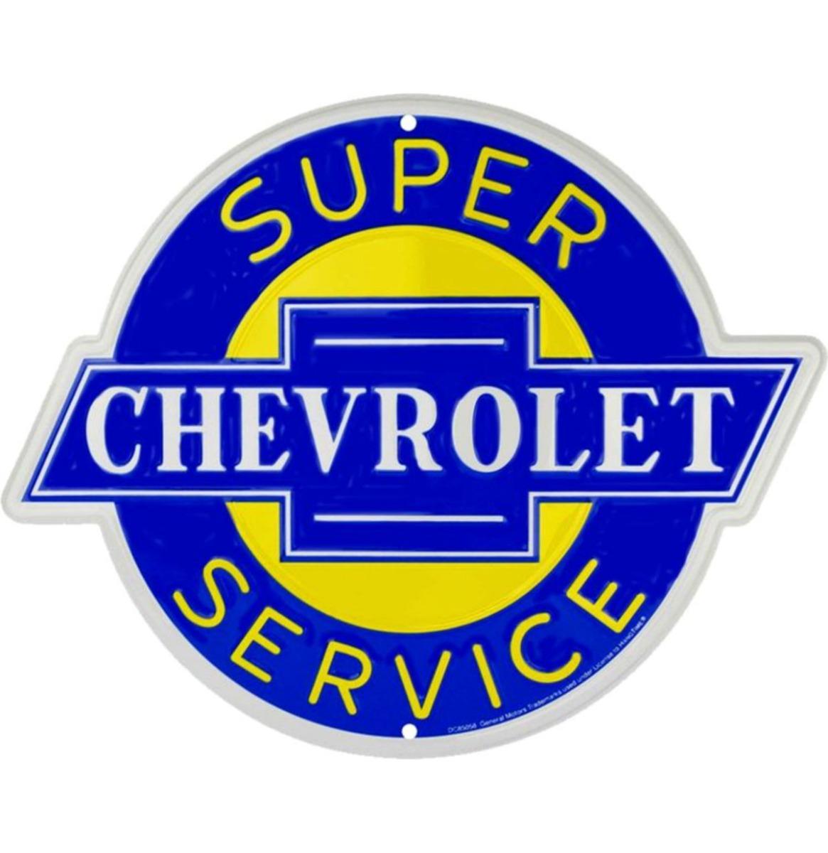Chevrolet Chevy Super Service Metalen Bord 72 x 58 cm