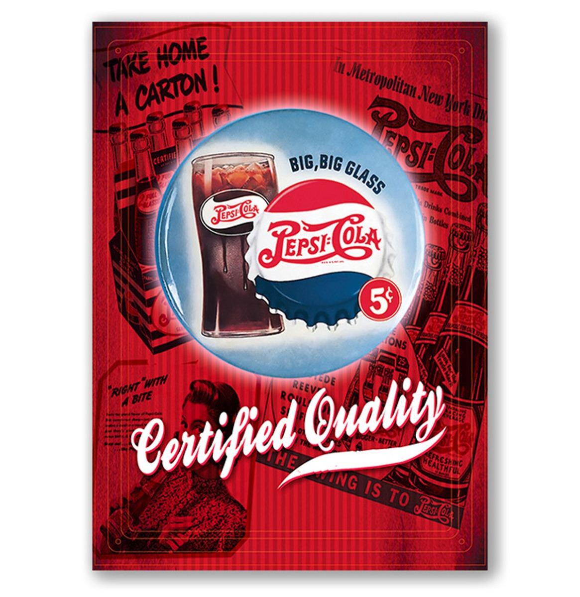 Pepsi Cola Certified Quality - Metalen Bord Met Reliëf - 43 x 31 cm