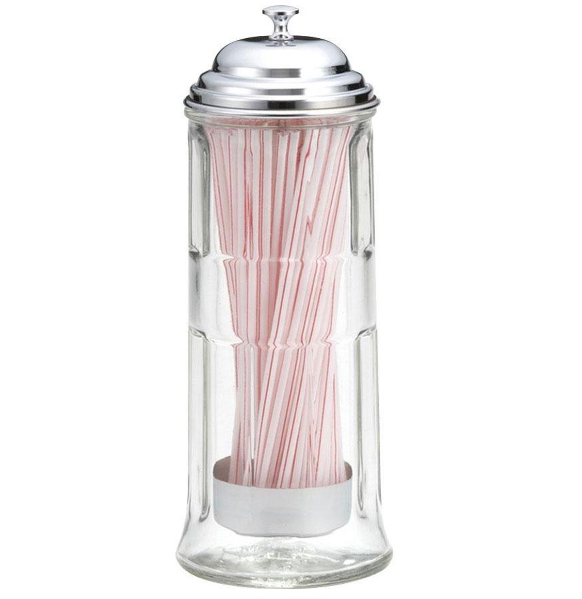 Diner Retro Rietjeshouder. Glas met Chromen Deksel