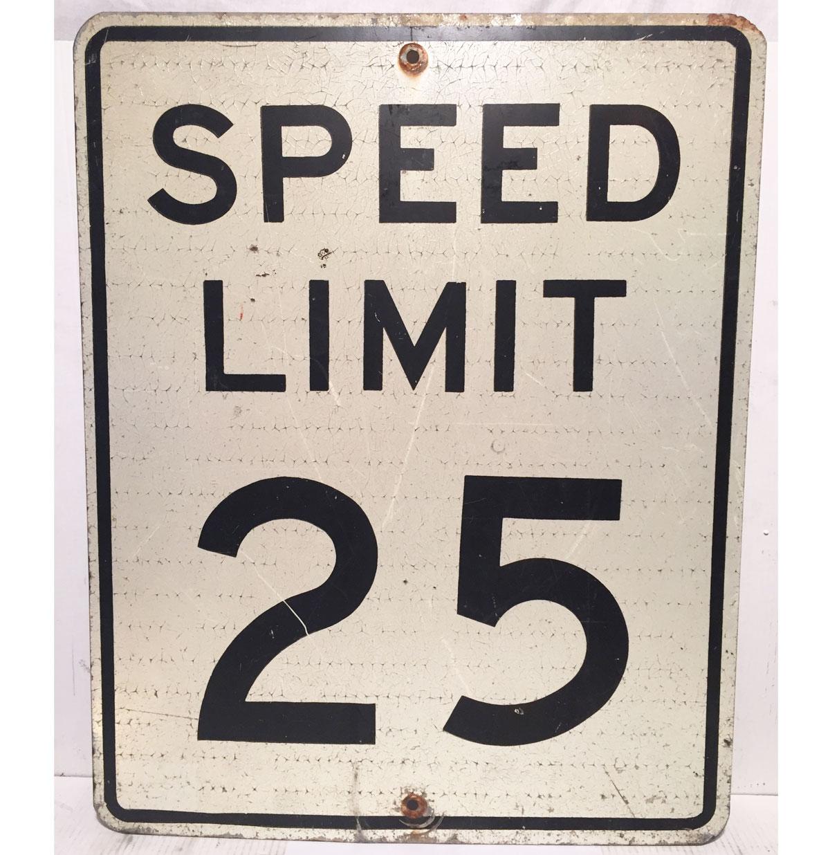 Speed Limit 25 Straatbord - Origineel (Zwaar Metaal)