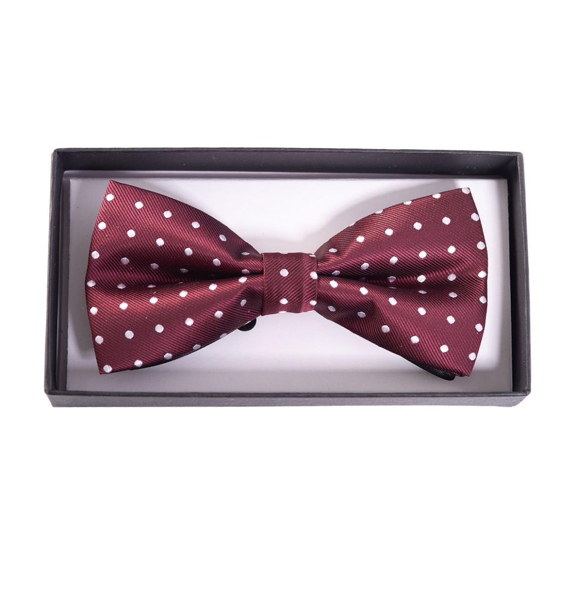 Ribbon Dance Bow Tie Burgundy White Polka Dots