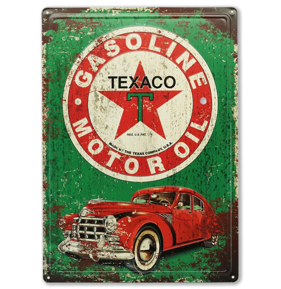 Texaco Gasoline Motor Oil Vintage Car Metalen Bord Met Reliëf 43 x 31 cm