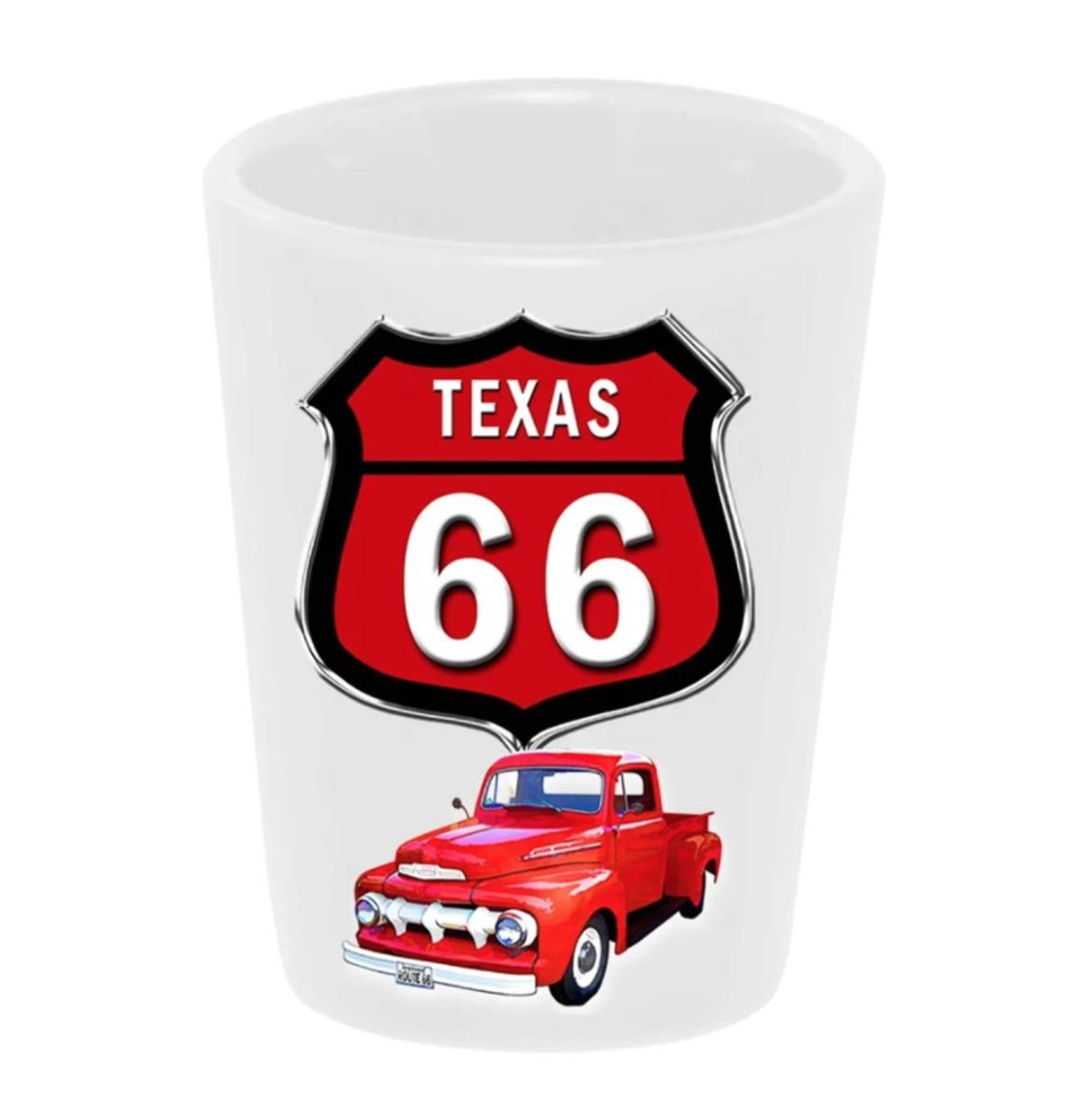 Shot Glass Keramiek Route 66 51 Ford Pickup Rood