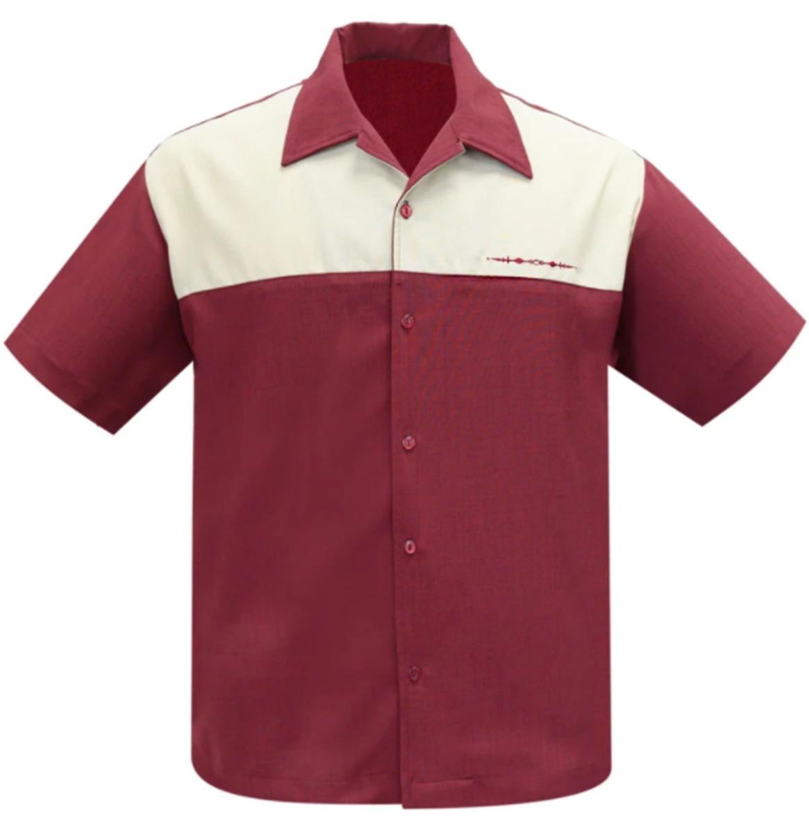 Steady Clothing The Earl Shirt Donkerrood / Beige
