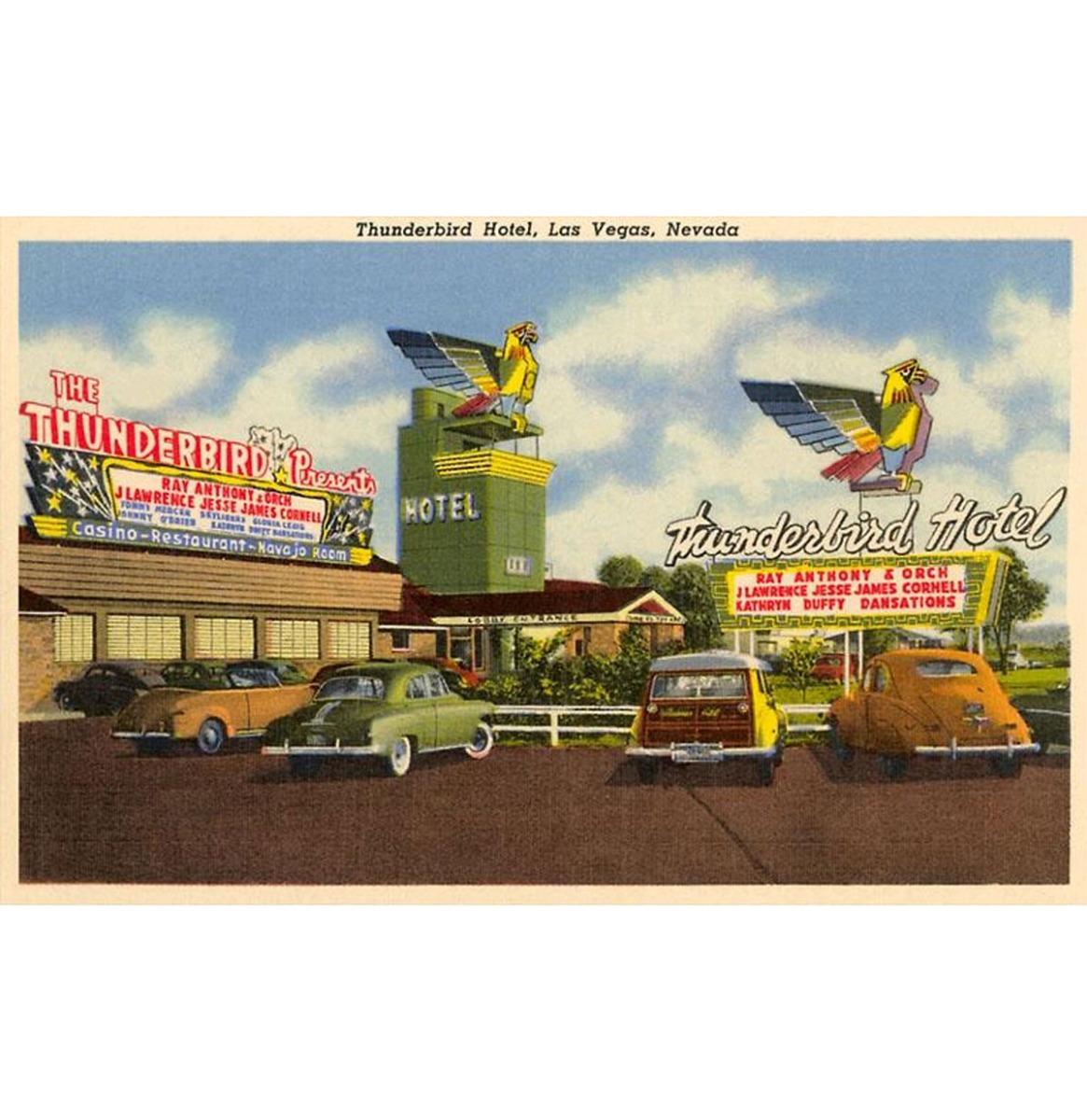 Thunderbird Hotel, Las Vegas, Nevada - Vintage Foto, Kunst Afdruk